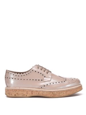 CHURCH'S: scarpe stringate - Derby brogue con zeppa in sughero