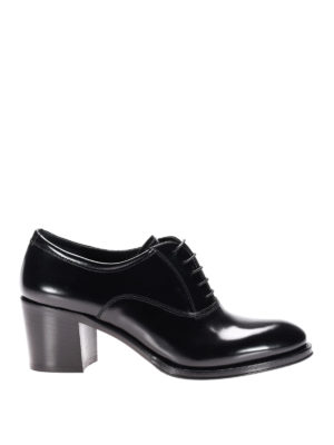 Church's: lace-ups shoes - Heeled polished fumé leather Oxford