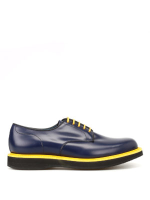 CHURCH'S: scarpe stringate - Derby Leyton 5 in pelle liscia blu