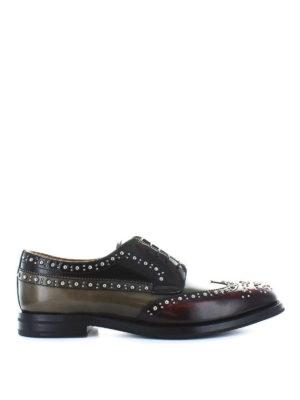 CHURCH'S: scarpe stringate - Derby brogue in pelle multicolore con borchie