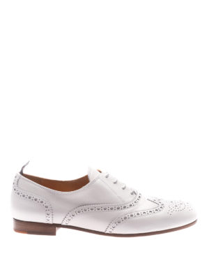 CHURCH'S: scarpe stringate - Oxford brogue in pelle bianca