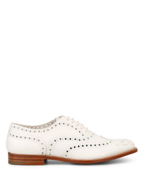 CHURCH'S: scarpe stringate - Brogue in morbida pelle bianca
