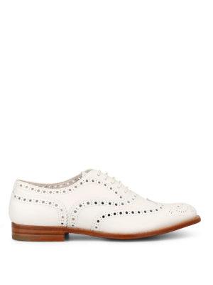 CHURCH'S: scarpe stringate - Brogue in morbida pelle bianca