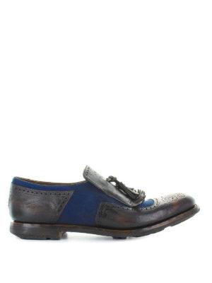 CHURCH'S: Mocassini e slippers - Mocassini pelle e tessuto bicolore