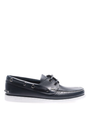 Church's: Loafers & Slippers - Blue leather boat shoes