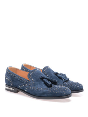 Church's: Loafers & Slippers online - Stud detailed blue suede loafers
