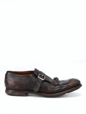 CHURCH'S: Mocassini e slippers - Monk strap Shangai in pelle effetto vintage
