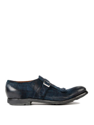 Church's: Loafers & Slippers - Shanghai blue leather monk-strap