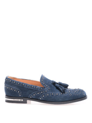 Church's: Loafers & Slippers - Stud detailed blue suede loafers