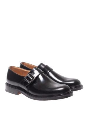 CHURCH'S: classiche online - Monk strap Wrexham nere in pelle spazzolata