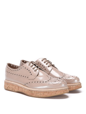 CHURCH'S: scarpe stringate online - Derby brogue con zeppa in sughero