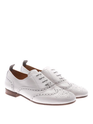 CHURCH'S: scarpe stringate online - Oxford brogue in pelle bianca