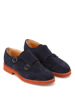 CHURCH'S: Mocassini e slippers online - Monk strap Kelby 3 in camoscio blu