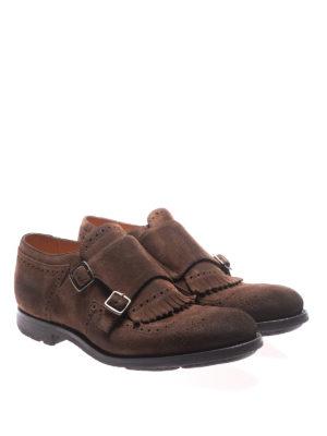 CHURCH'S: Mocassini e slippers online - Monk strap in camoscio con dettagli brogue