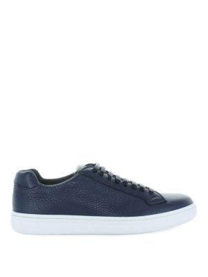 CHURCH'S: sneakers - Sneaker in pelle a grana blu