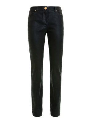 Class Roberto Cavalli: casual trousers - Coated cotton jeans-style trousers