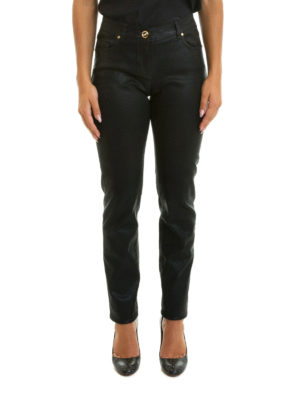 Class Roberto Cavalli: casual trousers online - Coated cotton jeans-style trousers