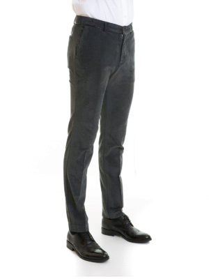 Class Roberto Cavalli: casual trousers online - Dark grey velvet trousers