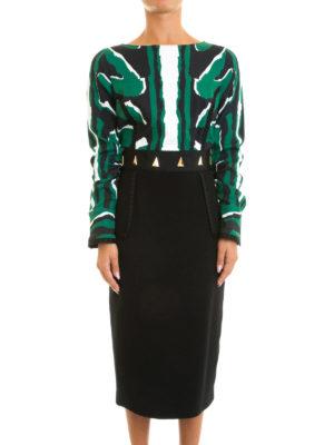 Class Roberto Cavalli: knee length dresses online - Patterned top studded sheath dress