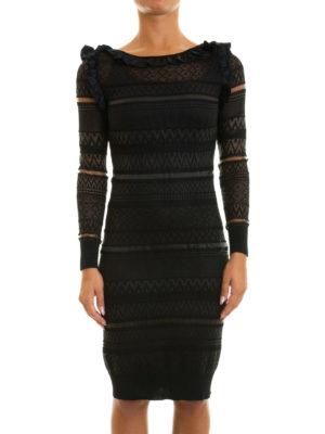 Class Roberto Cavalli: knee length dresses online - Sheer textured ruched dress