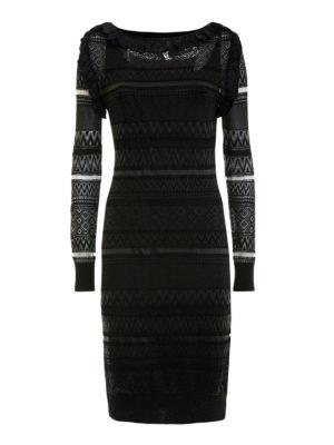 Class Roberto Cavalli: knee length dresses - Sheer textured ruched dress
