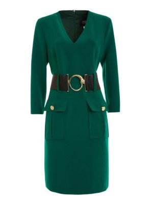 Class Roberto Cavalli: knee length dresses - Snake buckled belted dress