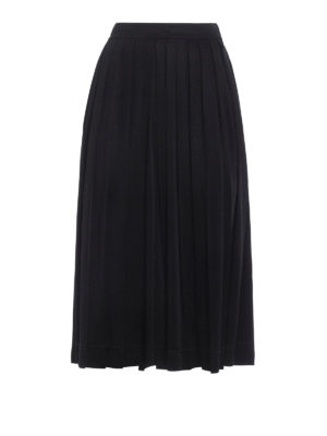 Céline: casual trousers - Shimmering pleated culottes