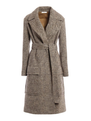 Céline: knee length coats - Melange wool wrap belted coat