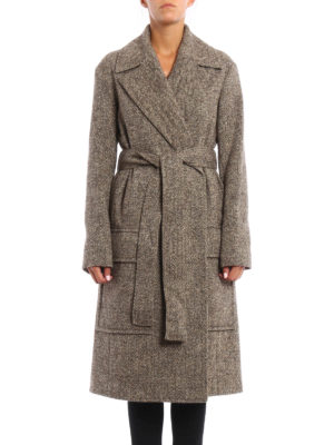 Céline: knee length coats online - Melange wool wrap belted coat
