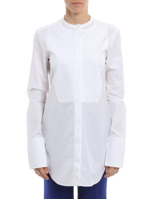 Céline: shirts online - Ruffled collar cotton over shirt