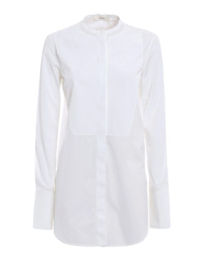 Céline: shirts - Ruffled collar cotton over shirt