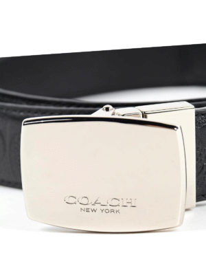 Coach: belts online - REVERSIBLE LEATHER BELT WITH PLAQUE