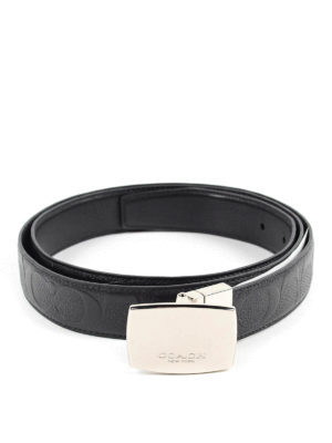 Coach: belts - REVERSIBLE LEATHER BELT WITH PLAQUE
