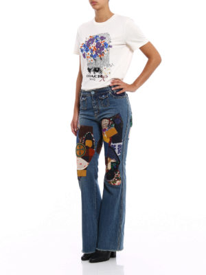 Coach: bootcut jeans online - Patch embellished flared jeans
