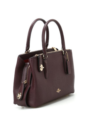 Coach: bowling bags online - Brooklyn 28 purple leather tote