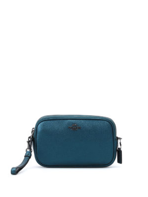 Coach: clutches - Metallic leather double zip clutch