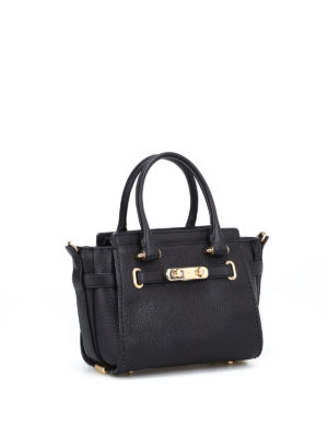 Coach: cross body bags online - Swagger 21 black leather bag
