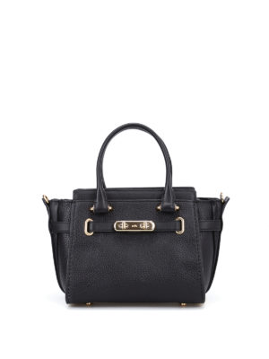 Coach: cross body bags - Swagger 21 black leather bag