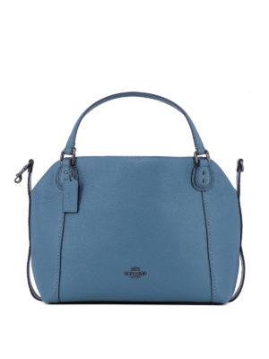 COACH: borse a spalla - Borsa a spalla Edie in pelle azzurra