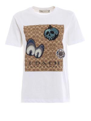 COACH: t-shirt - T-shirt bianca con ricami tenebrosi