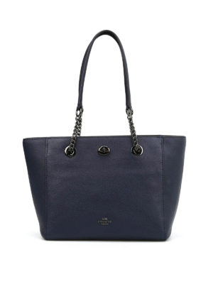 Coach: totes bags - Leather tote with chain handles