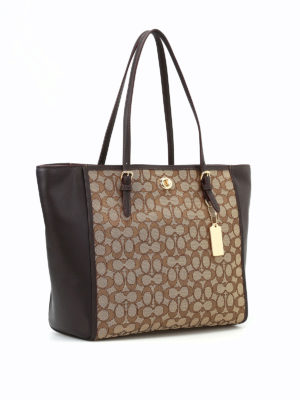 Coach: totes bags online - CC fabric panels leather tote