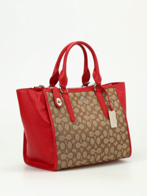 Coach: totes bags online - Crosby leather and canvas carryall