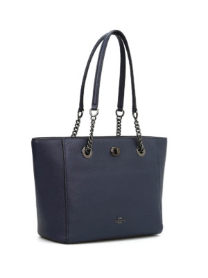 Coach: totes bags online - Leather tote with chain handles