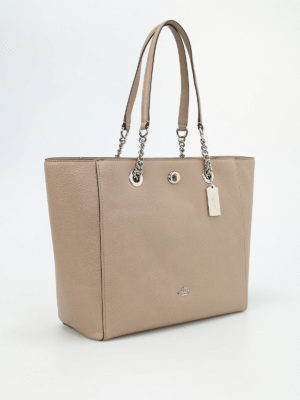 Coach: totes bags online - Turnlock chain handle tote