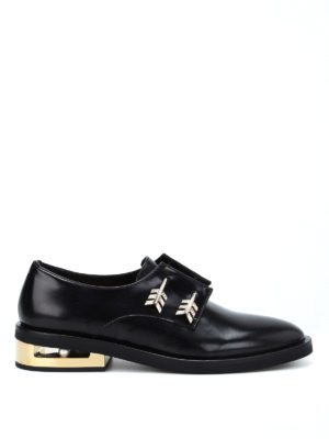 Coliac: Loafers & Slippers - Arrow piercing Derby slip-ons