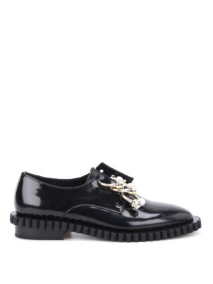 Coliac: Loafers & Slippers - Cake embellished piercing slip-ons