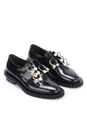 Coliac: Loafers & Slippers online - Cake embellished piercing slip-ons