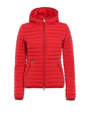 Colmar Originals: padded jackets - Hooded red stretch puffer jacket