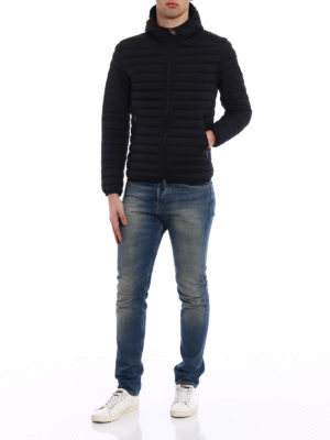 Colmar Originals: padded jackets online - Hooded black stretch puffer jacket